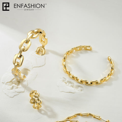 Pure Form Medium Link Chain Cuff Gold Color Fashion Bracelets & Bangles