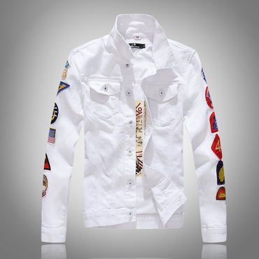 Punk Style White Green Color Spliced Hip Hop Denim Jacket