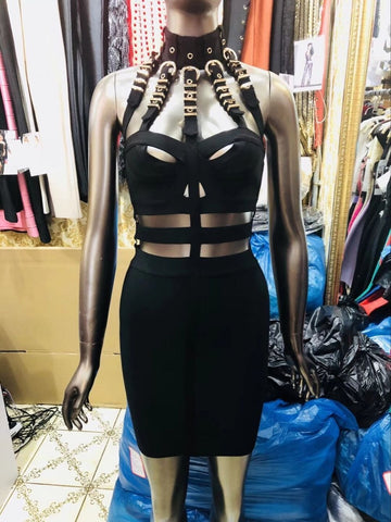 Luxury Sexy Cut Out Black Bandage Knitted Elastic Party Dress