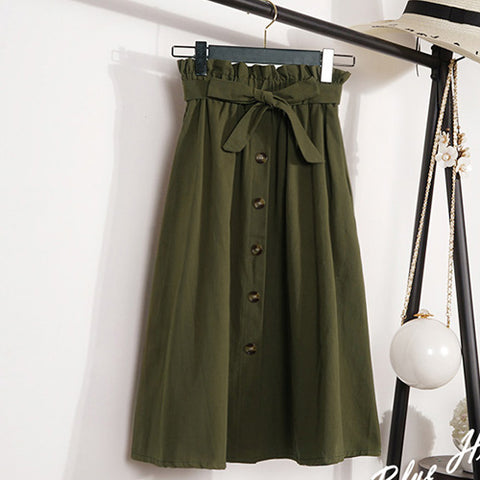 Skirts Midi Knee Length Elegant Button High Waist Skirt