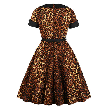 Vintage Office Sexy Gothic Cotton Leopard Color Block Button Party Dress