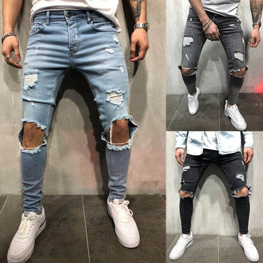 Streetwear Vintage Blue Gray Color Skinny Destroyed Ripped Jeans