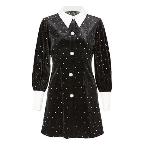Long Sleeve Heavy Diamond Black Mini Shirt Dress