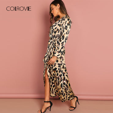 Deep V-Neck Surplice Wrap Satin Leopard Vintage  Long sexy Dress
