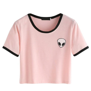 Young Girl Short Sleeve T-Shirts Casual Crop Top Alien Printing Tee Shirt