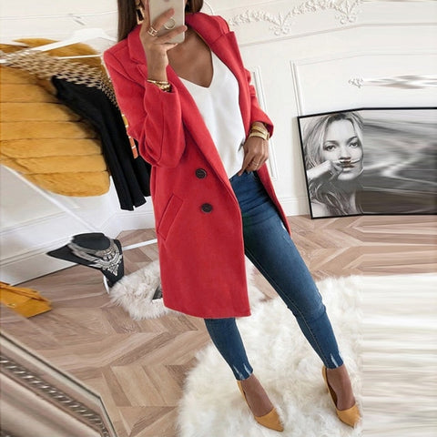 Woollen Coat Long Sleeve Turn-Down Collar Oversize Blazer Outwear
