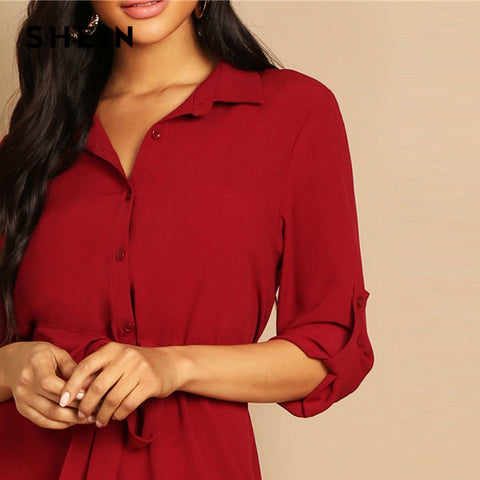 V Neck Roll Tab SleeveThree Quarter Length Sleeve Drawstring Waist Shirt Dress
