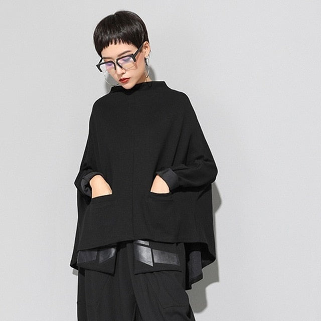 Stand Collar Long Sleeve Black Loose Irregular Big Size Cloak Sweatshirt