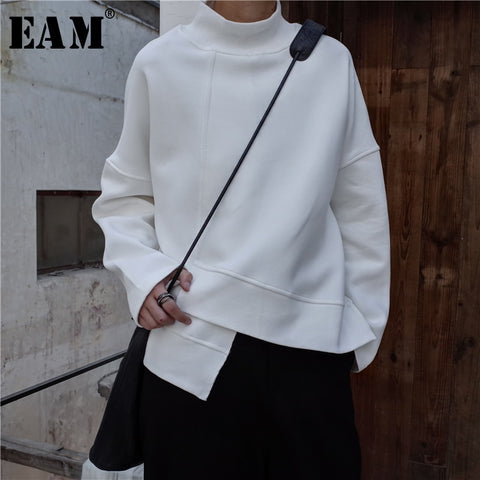 High Collar Long Sleeve Black Loose Irregular Hem Hoodies