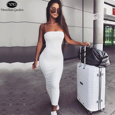 Cotton Maxi Sexy Long White Vestido Midi Bodycon Dress