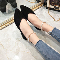 Flat Shoes Pearls String Bead Casual Shoes