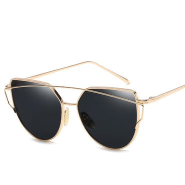 Fashion Cat Eye Vintage Rose Gold Mirror Sunglasses