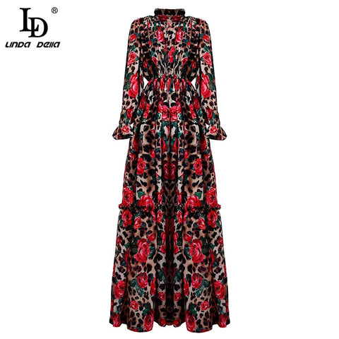 Runway Long Sleeve Maxi Elegant Party Rose Floral Leopard Print Long Dress