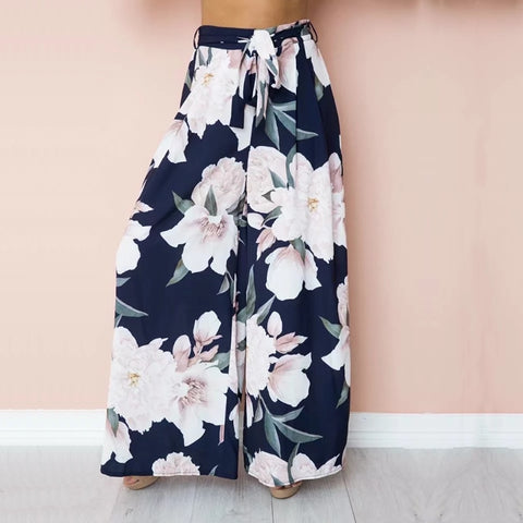 Boho Chiffon Floral Print Wide Leg Long Loose Pant Trousers
