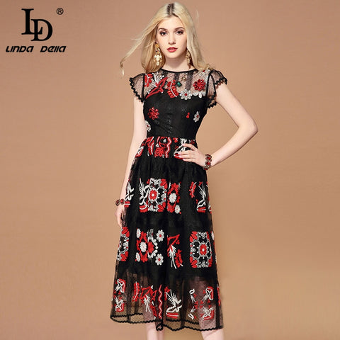 Runway Black Mesh Gorgeous Crystal Beading Embroidery Midi Vintage Dress