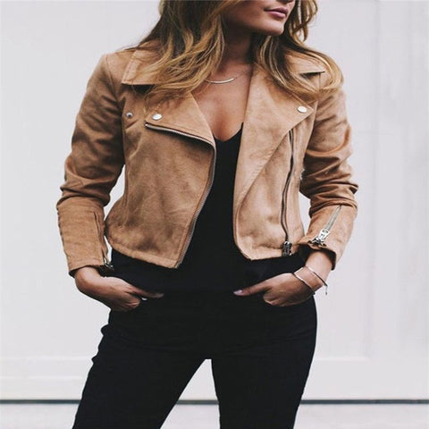 Leather Outerwear & Coats Jackets  Ladies Retro Rivet Zipper Up