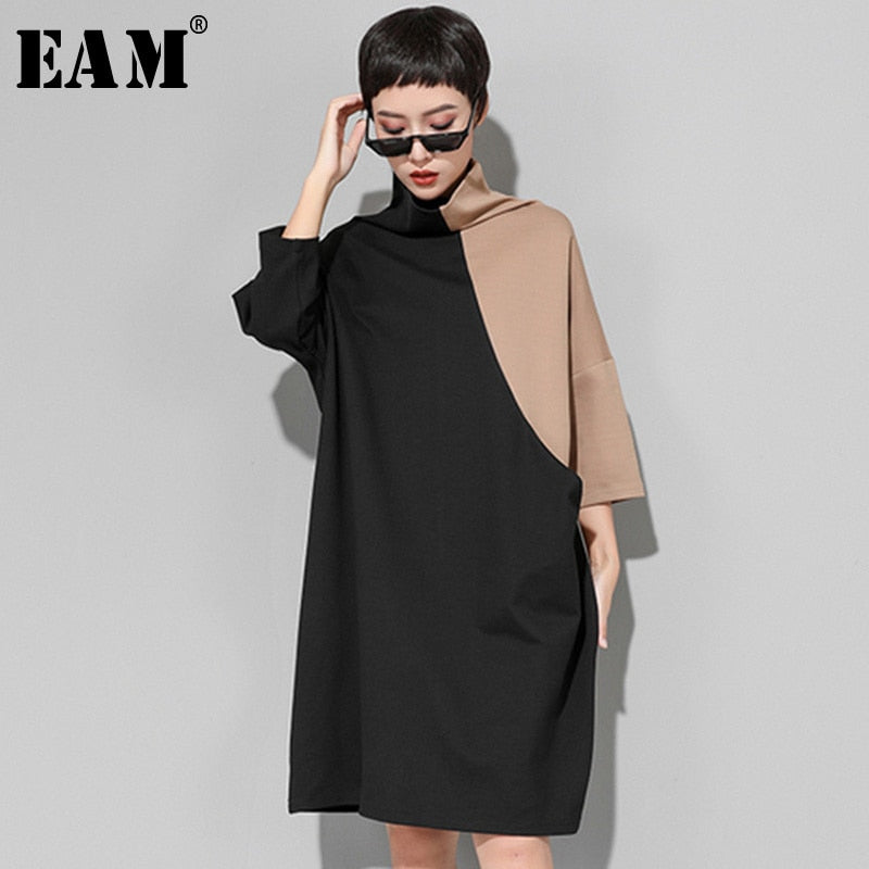 High Collar Long Sleeve Hit Color Loose Large Size Sweatshirt Dress