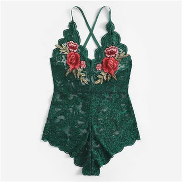 Sexy Cross Appliques Lace Teddy Romper