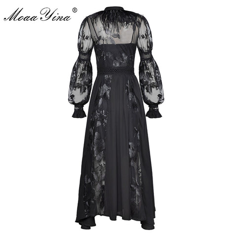 Bow collar Feather see through Mesh Floral Embroidery Sexy party Long Dress