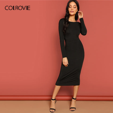 Black V Neck Backless Pencil Lace Long Sleeve Bodycon Midi Party Dress