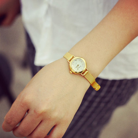 Gold Famous Brand Minimalist Steel Mesh Simple Geneva Waterproof Watch