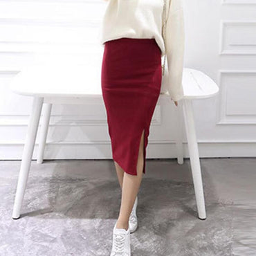 Sexy Chic Pencil Wool Rib Knit Long Skirt