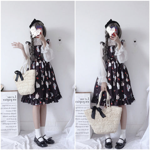 Chic Lady Kawaii Ulzzang Strawberry Rabbit Cute Strap Dress