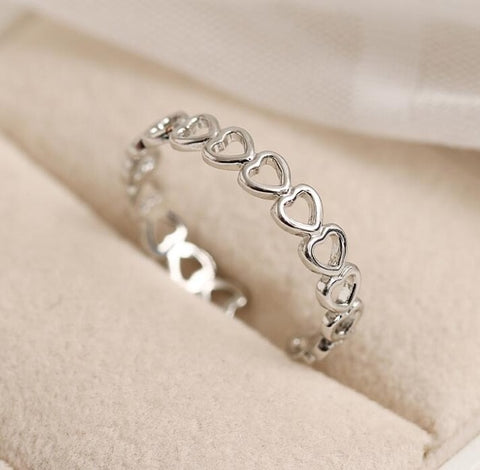 Silver Colour Hollowed-out Heart Shape Open Design Cute Fashion Love Rings