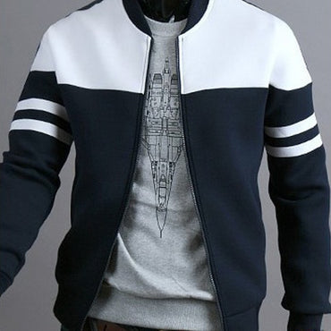 Zipper Sportswear Patchwork Jacket Long Sleeve Coat