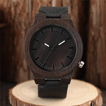 Nature Wooden Watch Minimalist Clock Bamboo Genuine Leather