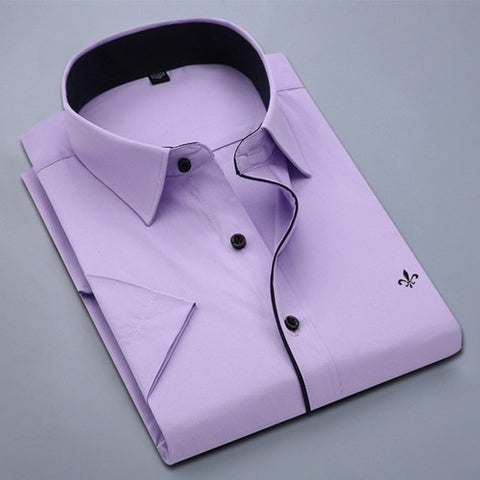Brand Designer Solid Male Clothing Slim Fit Business Short Sleeve Shirts