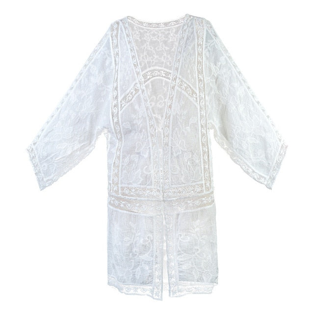 Boho Patchwork Lace Embroidery Cardigan Long Jacket Loose Batwing Sleeve