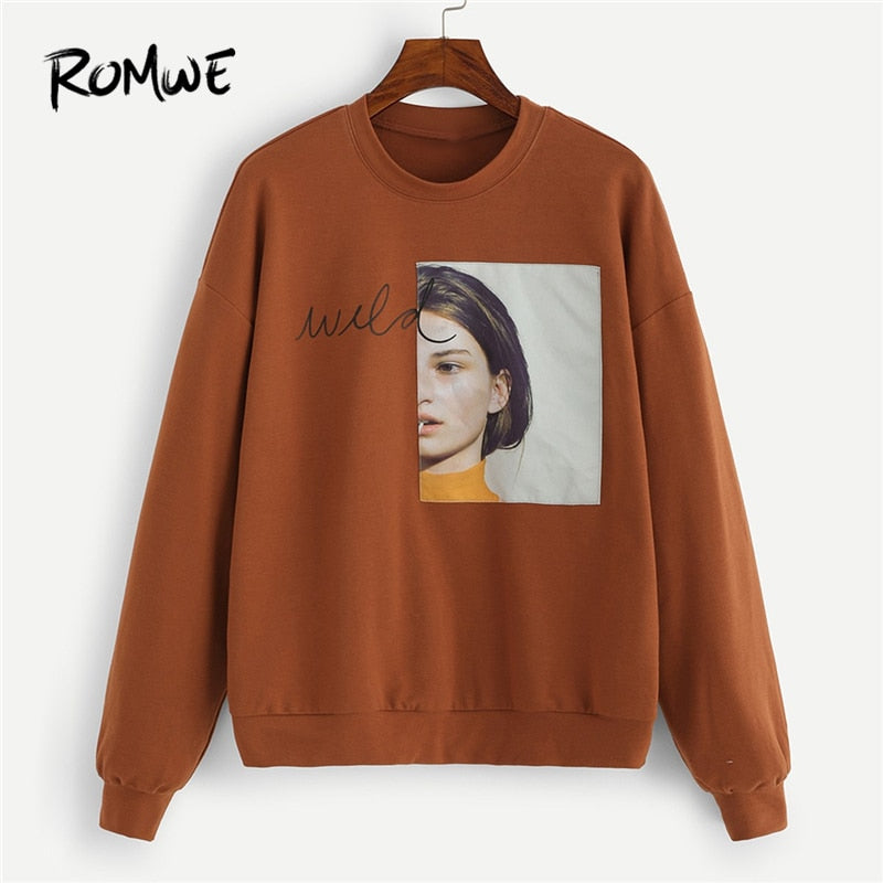 Brown Figure Patched Letter Pullover Sweatshirt Fashion Clothing Casual Pullovers