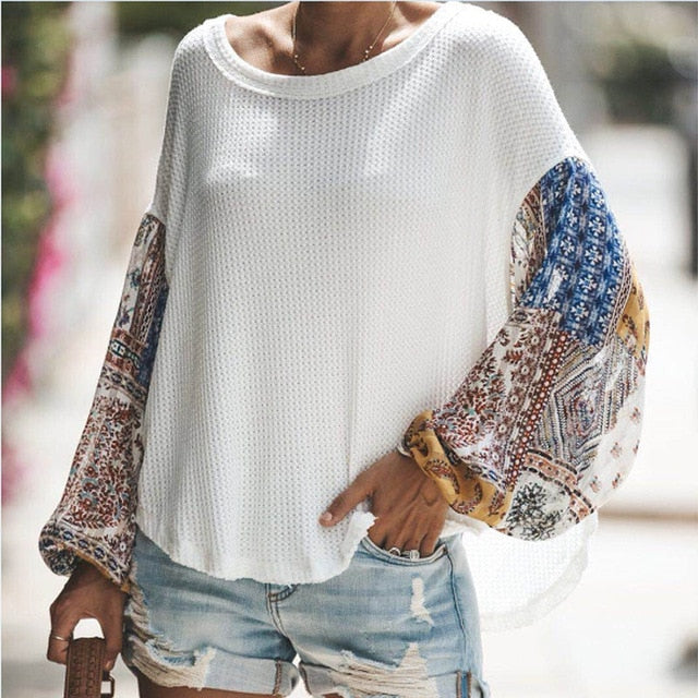 Pullovers  Knitted Sweater Boho Printed Long Bell Sleeve O-Neck Pullovers
