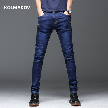 Denim Straight Full Length Pants with High Elasticity Slim Jeans
