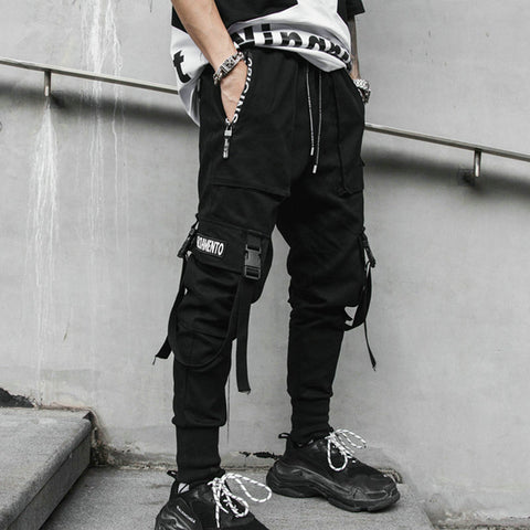 Hip Hop Joggers Black Harem Multi-pocket Ribbons Pants