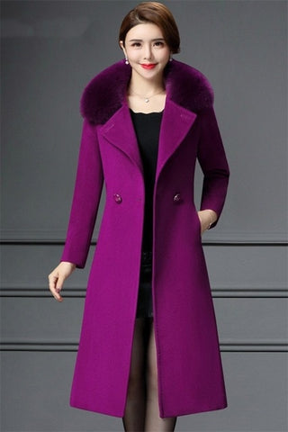 Special offer middle-aged self-cultivation long woolen coat