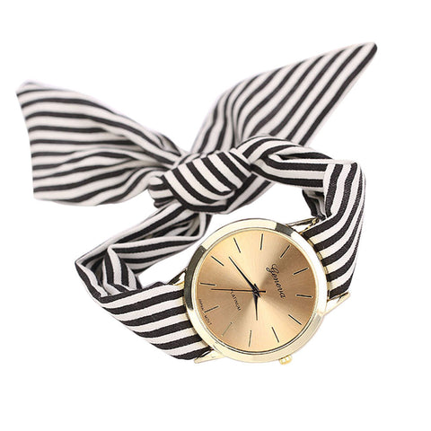 relojes mujer Style Fashion Stripe Floral Cloth Quartz Bracelet Wristwatch