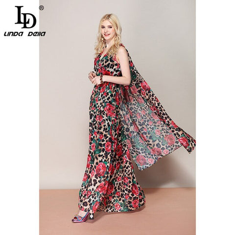 Fashion Runway Summer Maxi Sexy V Neck Vintage Rose Floral Dress