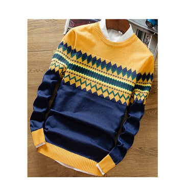 Fashion Style Patchwork Knitted Quality Pullover