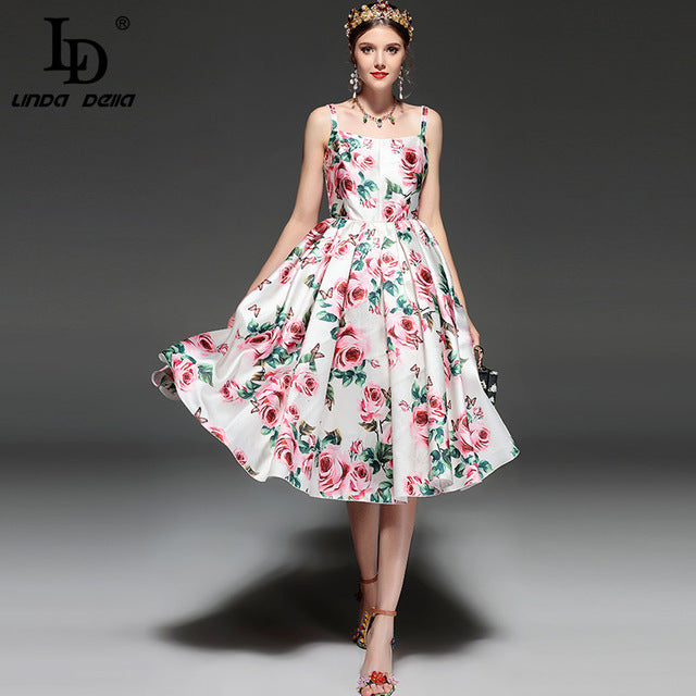 Designer Backless Casual Elegant Rose Floral Print Dress