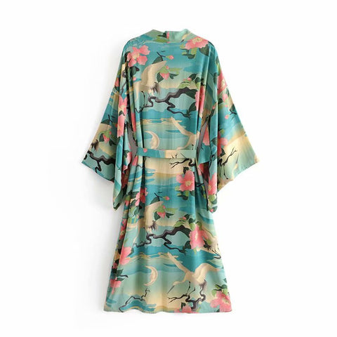 Green Vintage Retro Night Garde Print Boho maxi Kimono Shirt Sleeve