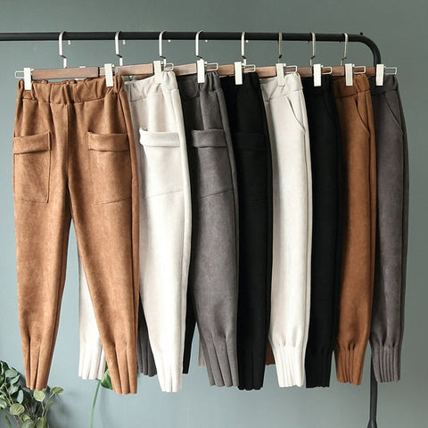 Elastic High Waist Pockets Suede Harem Pants Casual Trousers Pants