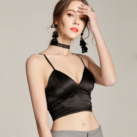 Camisole Camis Bralette Strappy Unlined Lingerie Bra Modeled Silk Tops