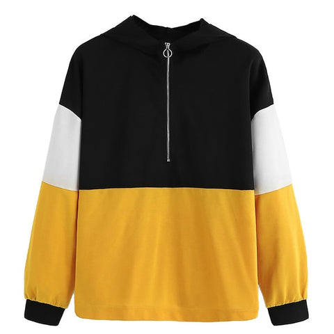 Zipper Hoodie Jumper Casual Long Sleeve Color Block Sweatshirt