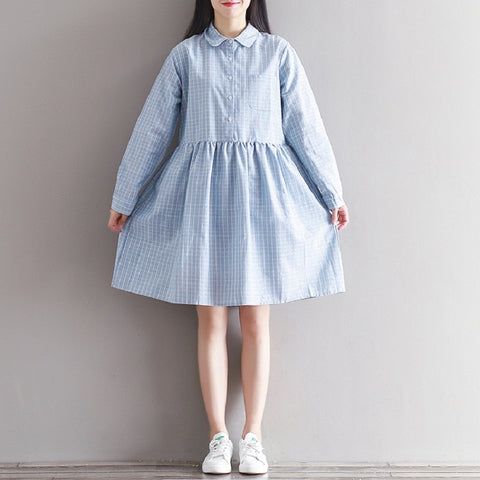 Plaid Turn Down Collar Full Sleeve Casual Retro Blue Dress