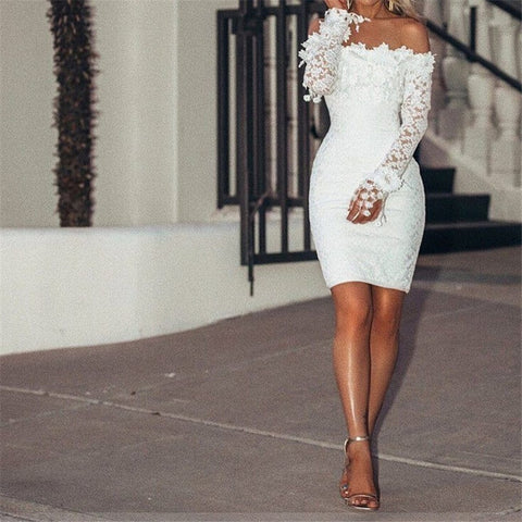 Long Sleeve Off Shoulder Cocktail Party Club Bodycon Mini Pencil Dress