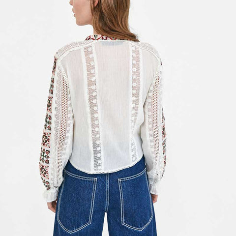 Long Sleeve Vintage Embroidered white blouse casual bohemian tops