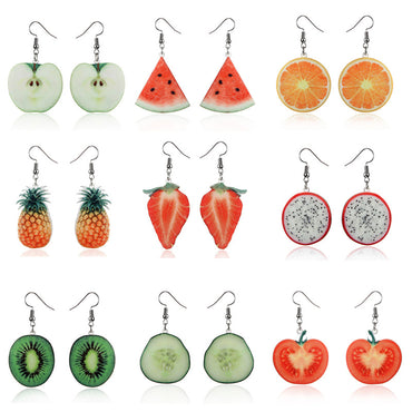 Acrylic Cute Fruit Earrings Strawberry Pineapple Tomato Kiwi Orange Cucumber