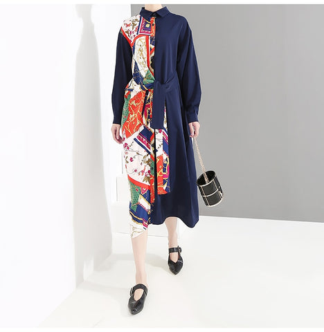 Blue Shirt Long Sleeve Printed Patchwork Ladies Plus Size Midi Party Dress